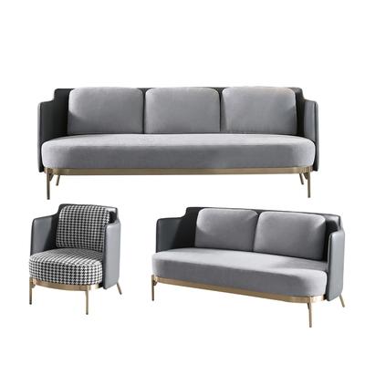 【文創集】馬爾地夫 簡約灰亞麻布&皮革沙發椅組合(1+2+3人座)-223x75x80cm免組