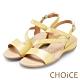 CHOiCE 細緻牛皮斜帶造型厚底涼鞋 黃色 product thumbnail 1