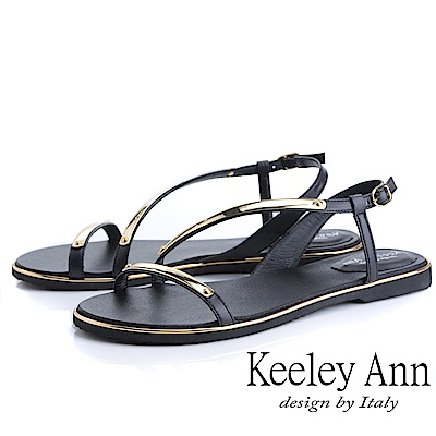 Keeley Ann金屬飾釦 金屬條帶環繞平底涼鞋(黑色)