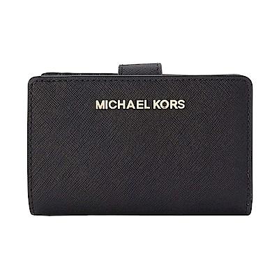 MICHAEL KORS JET SET金字素面防刮皮革中夾 黑色