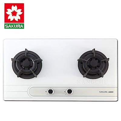 櫻花牌 G2522G 平整式設計強化玻璃檯面式雙口瓦斯爐(天然)