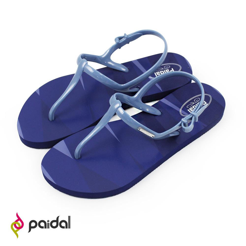 Paidal 鏡花同色彩紋T字涼鞋海灘涼鞋-深藍