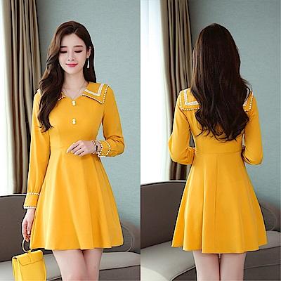 DABI 韓國風大翻領氣質修身顯瘦長袖洋裝