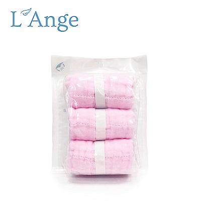 L'Ange 棉之境 9層多功能紗布小方巾 22x22cm 3入組-粉色