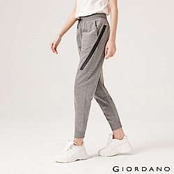 GIORDANO 女裝G-MOTION拉鍊口袋運動束口褲-44 雪花鯊魚皮灰