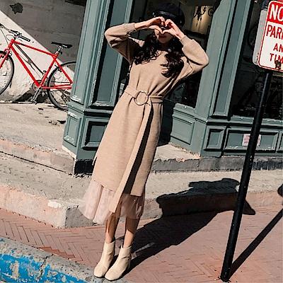 DABI 韓國風名媛毛衣裙過膝寬松針織套裝長袖裙裝