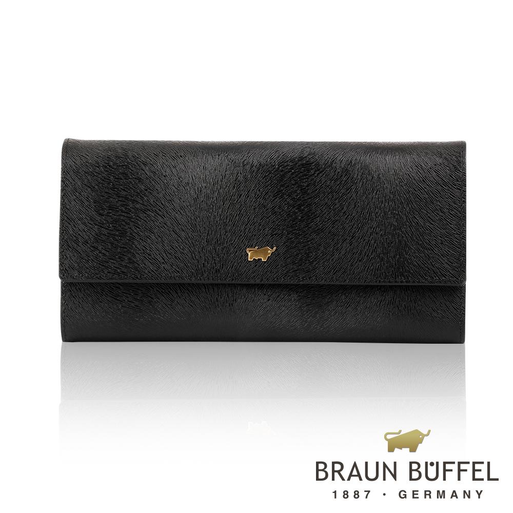 BRAUN BUFFEL - 奧菲莉亞P系列12卡三折長夾 - 深黑