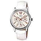 CASIO 潔淨無瑕秋冬指標款指針皮帶腕錶(LTP-2085L-7A)無暇白32mm