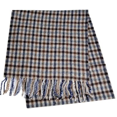 Aquascutum 英國製100%羊毛經典品牌字母LOGO刺繡圍巾(咖啡灰格紋)