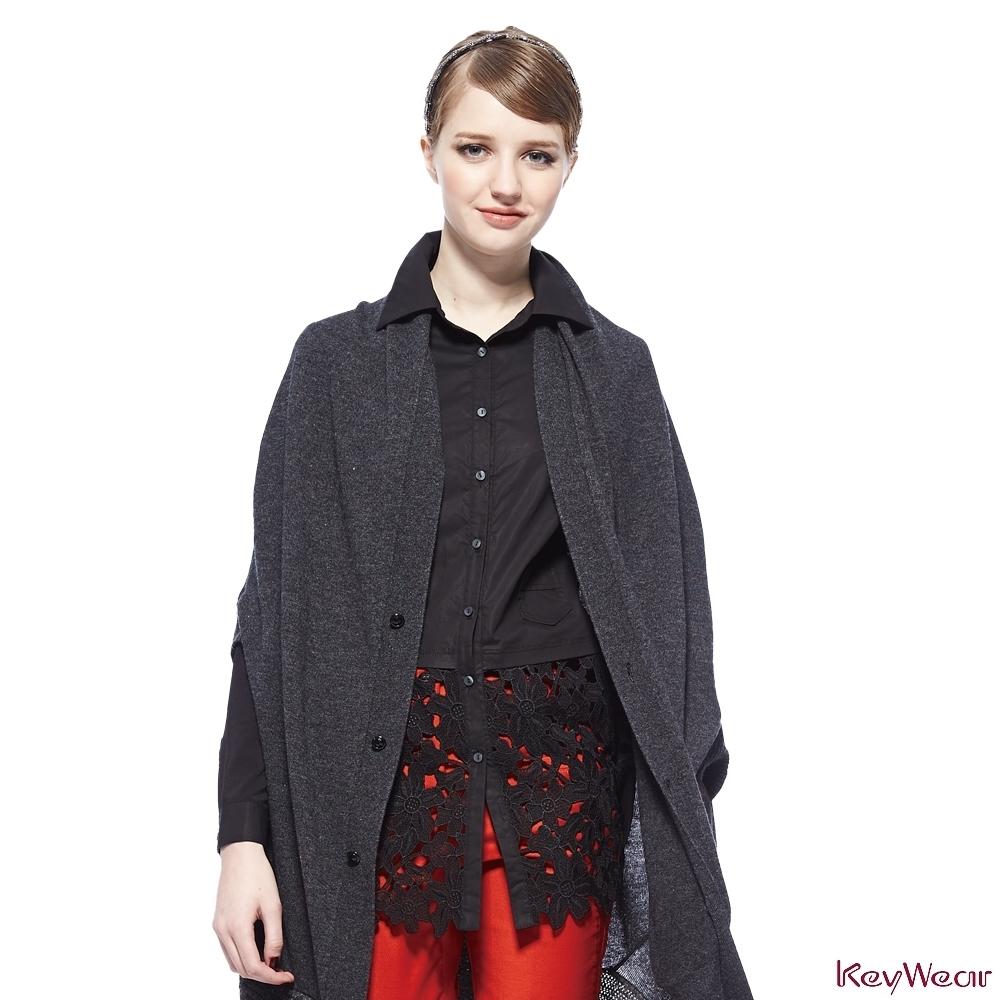 KeyWear奇威名品    義式簡約造型針織毛外套-灰色