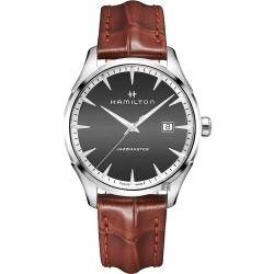 Hamilton 漢米爾頓 Jazzmaster 品味紳士經典石英手錶-灰x咖啡/40mm
