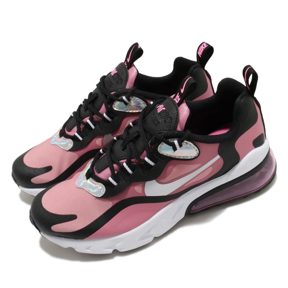 Nike 休閒鞋 Air Max 270 React 女鞋 氣墊 舒適 避震 簡約 球鞋 穿搭 大童 粉 黑 CT4694600