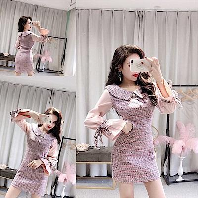 DABI 韓系時尚拼接修身顯瘦毛呢長袖洋裝