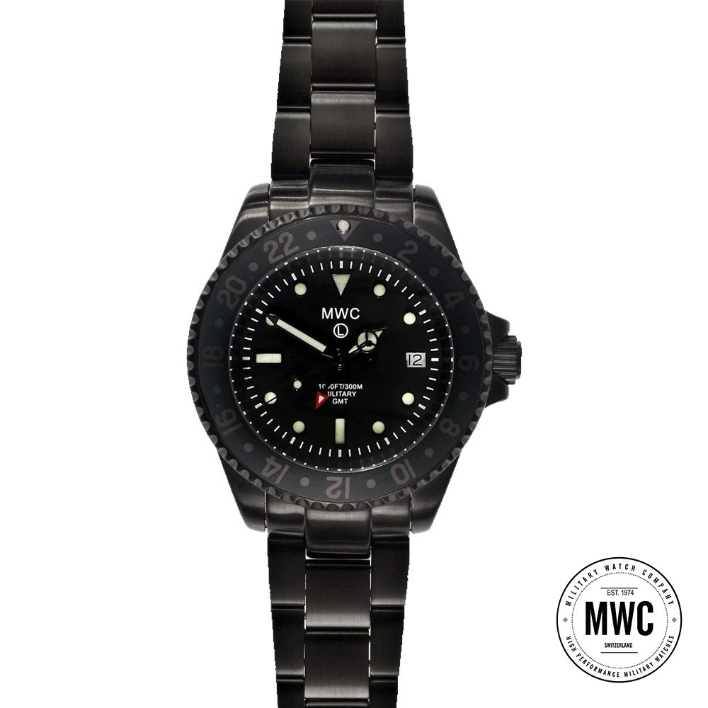 MWC瑞士軍錶 GMT雙時區PVD軍事飛行運輸專用款 搭配鋼錶鍊 -黑色/31mm