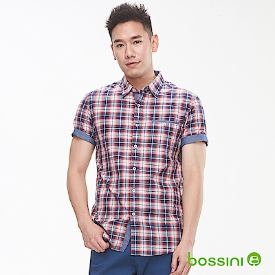 bossini男裝-格紋短袖襯衫01暗紅
