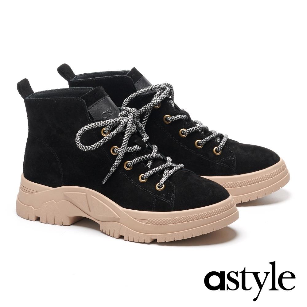 短靴 astyle 帥氣時髦雙色綁帶全真皮登山短靴-黑