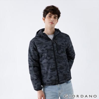 GIORDANO 男裝輕羽絨連帽外套 - 98 黑迷彩