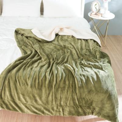eyah宜雅 法式馬卡龍雙面加厚法蘭絨羊羔絨毯2入組 橄欖綠