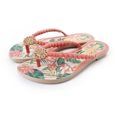 Grendha 可愛串珠人字帶夾腳鞋-橘紅