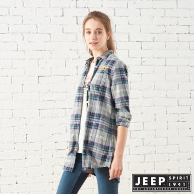 JEEP 女裝 雙色格紋長版長袖襯衫-藍綠格紋
