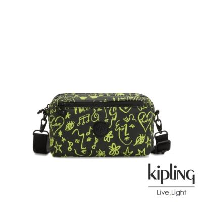Kipling Christine Lau聯名款-俏皮螢光綠音樂塗鴉方形腰包-HALIMA