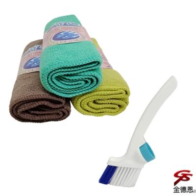 金德恩 台灣製造 2包正開纖纖維強效吸水萬用擦拭布1包6入/隨機色+2組瓶蓋型清潔纖維刷頭
