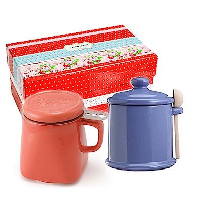 ZERO JAPAN 陶瓷儲物罐(藍莓)+泡茶馬克杯(蘿蔔紅)超值禮盒組
