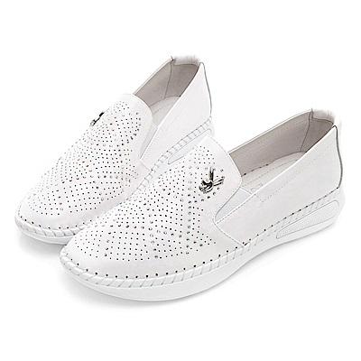 PLAYBOY 浪漫星空美鑽真皮休閒鞋-白-Y529811