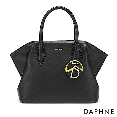 達芙妮DAPHNE-經典素面佐吊飾手提托特包-黑