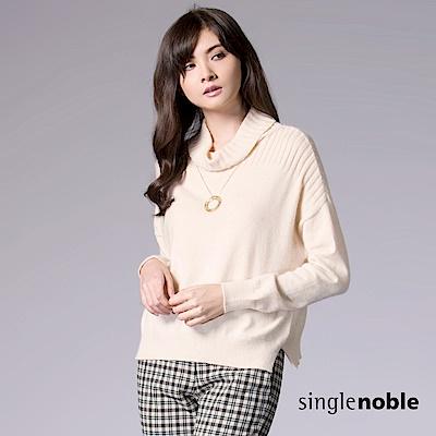 獨身貴族-日系優雅條紋織紋設計高領針織衫-3色