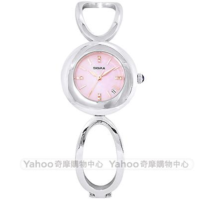SIGMA 閃耀晶鑽珍珠貝時尚手錶-粉X銀/25mm