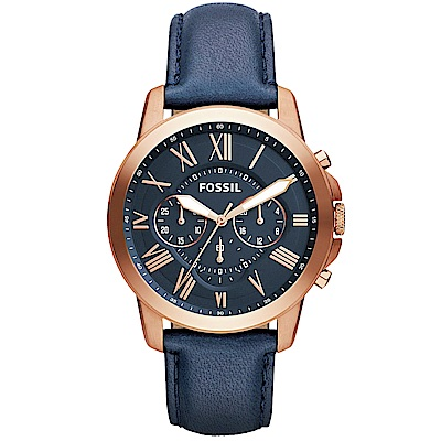 FOSSIL Grant經典復刻計時真皮手錶(FS4835IE)-藍X玫瑰金框/44mm