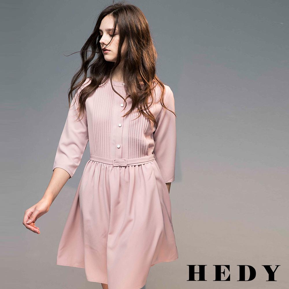 Hedy赫蒂  圓領百褶七分袖腰帶洋裝(共兩色)