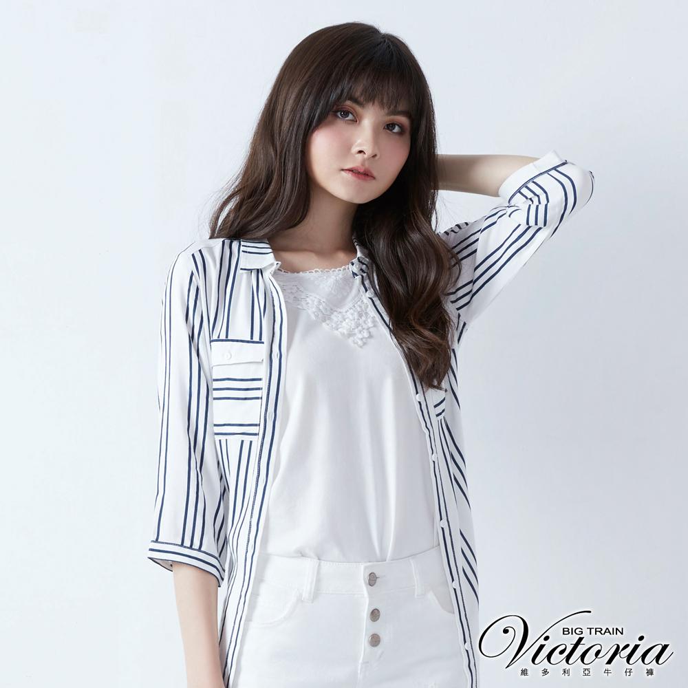 Victoria 領口蕾絲拼接背心-女-白色