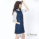 OUWEY歐薇 率性剪裁牛仔背心洋裝(藍)