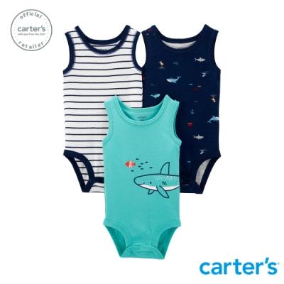 【Carter s】 海洋鯊魚3件組無袖包屁衣 (台灣總代理)