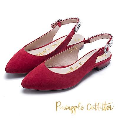 Pineapple Outfitter 低調奢華 水鑽後繫帶低跟鞋-紅色