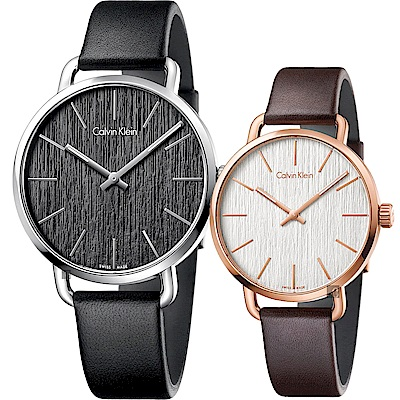 Calvin Klein CK Even 木質情侶手錶 對錶-銀框x玫瑰金框