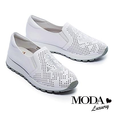 休閒鞋 MODA Luxury 獨特沖孔水鑽船錨造型全真皮厚底休閒鞋-白