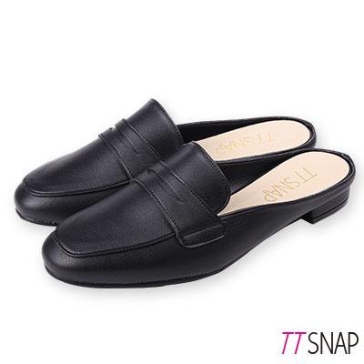 TTSNAP訂製款-修長顯瘦半拖方頭穆勒鞋 黑