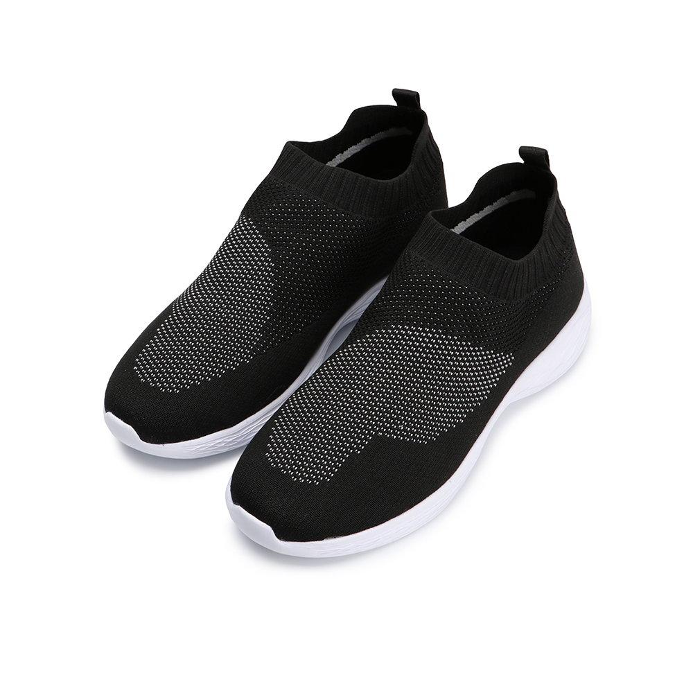 BuyGlasses 太空輕量襪套式慢跑鞋-黑白