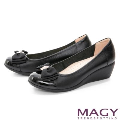 MAGY 真皮蝴蝶結鑽飾楔型 女 中跟鞋 黑色