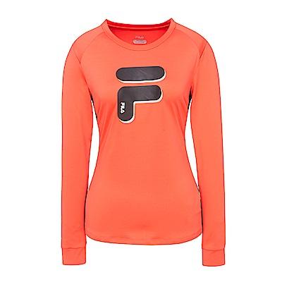 FILA 女抗UV吸濕排汗T恤-桔紅 5TES-5311-OR