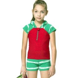 沙兒斯 兒童泳裝 超可愛造型防曬半袖兩件式女童泳裝