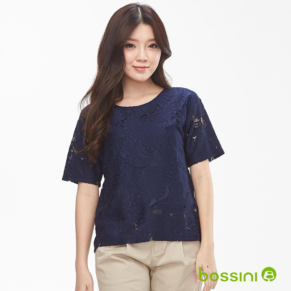 bossini女裝-圓領蕾絲鏤空短袖上衣01藏藍色