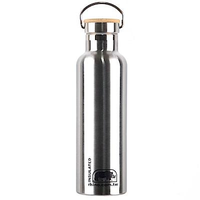 犀牛RHINO Vacuum Bottle雙層不鏽鋼保溫水壺(竹片蓋)750ml