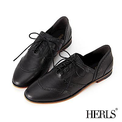 HERLS 全真皮 極簡側V口雕花牛津鞋-黑色