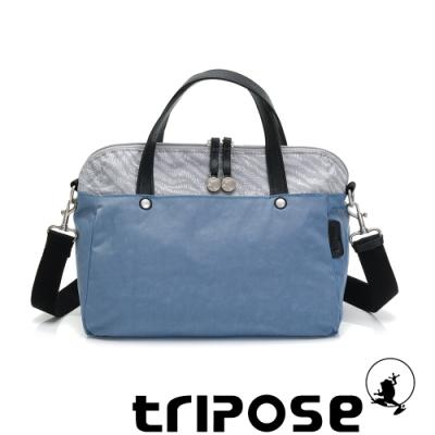 tripose ARTFRICA緹花布手提斜背包 斑馬灰/天空藍