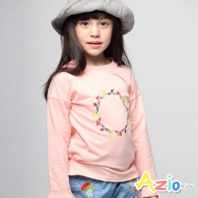 Azio Kids 女童 上衣 小花圈英文字母喇叭袖口長袖上衣 (粉)