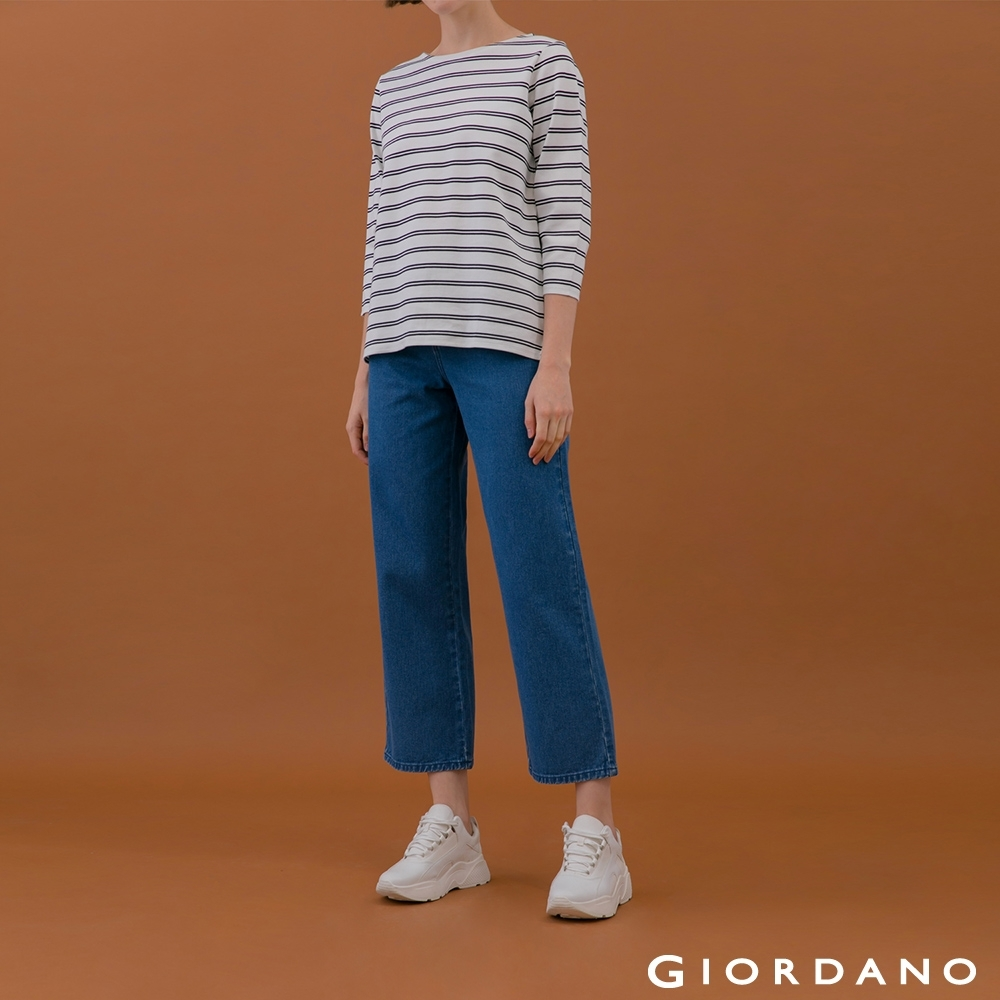 GIORDANO  女裝中腰牛仔寬褲 - 76 中藍 product image 1
